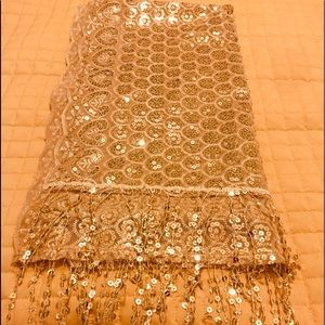 Light Gold Sequence Scarf. A Knock out!!!